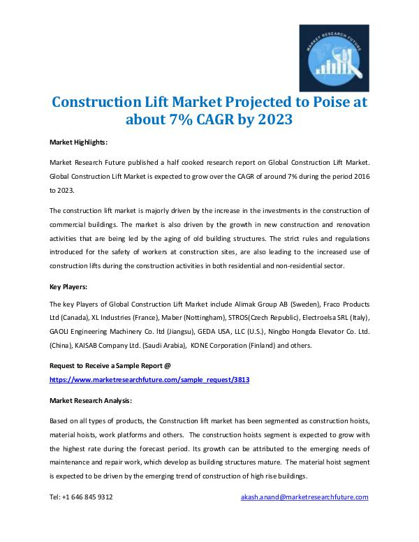 Construction Lift Market 2017-2023