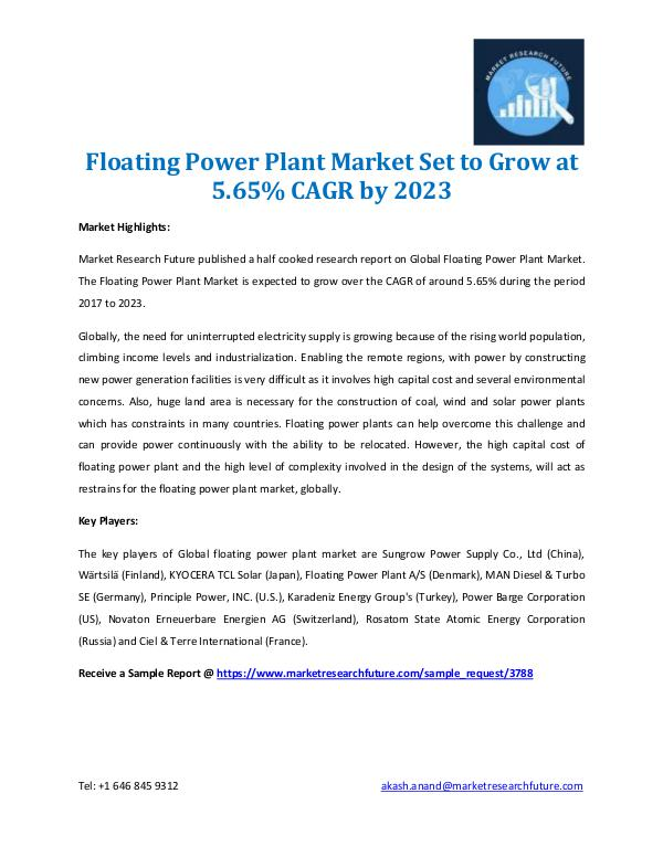 Floating Power Plant Market 2017-2023