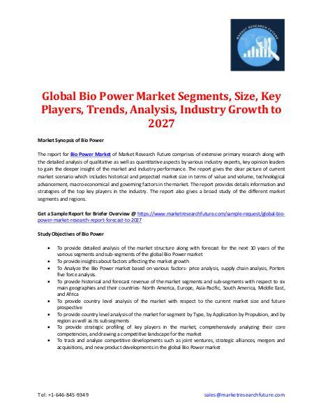 Global Bio Power Market Segments, Size, Key Players -2027 Global Bio Power Market Segments, Size- 2027