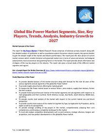 Global Bio Power Market Segments, Size, Key Players -2027