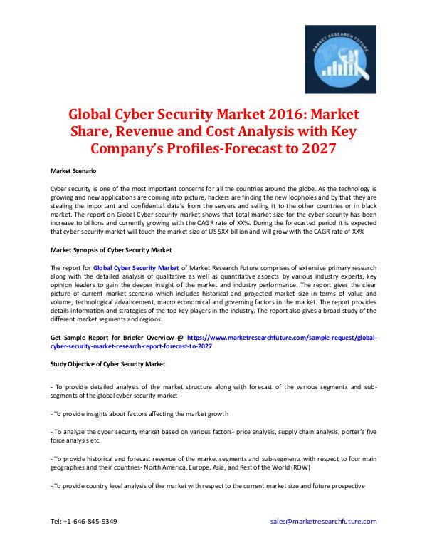 Global Cyber Security Market 2016-2027: Market Share Global Cyber Security Market 2016-2027