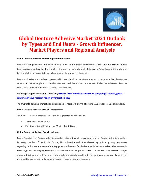 Global Denture Adhesive Market 2021 Outlook by Types and End Users Global Denture Adhesive Market Outlook 2021