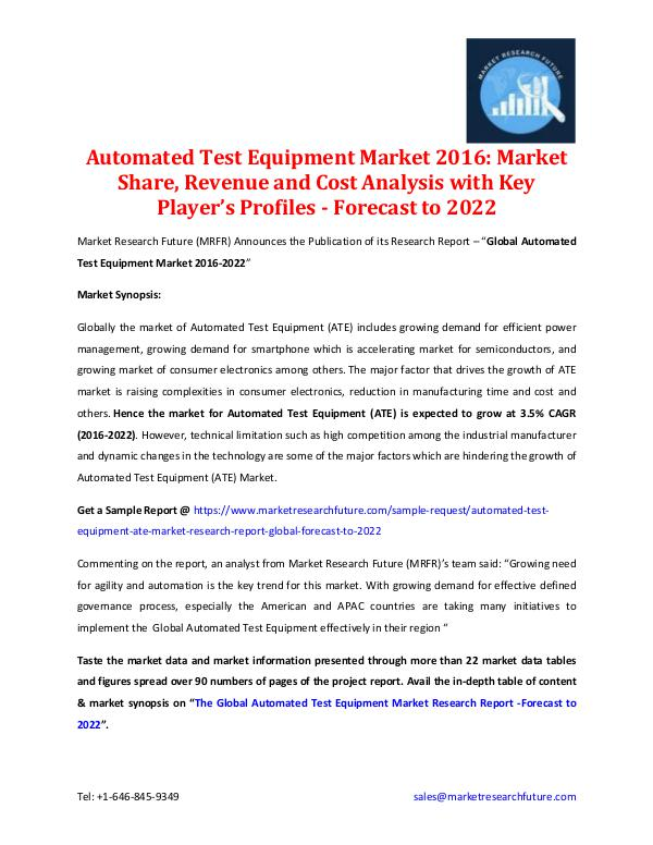 Automated Test Equipment Market 2016-2022 Global Automated Test Equipment Market 2016-2022