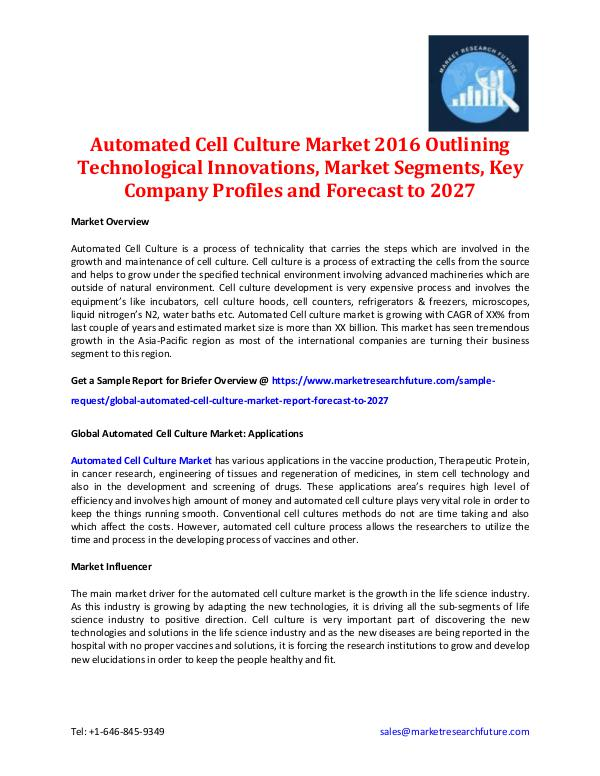 Market Research Future - Premium Research Reports Automated Cell Culture Market - Forecast to 2027
