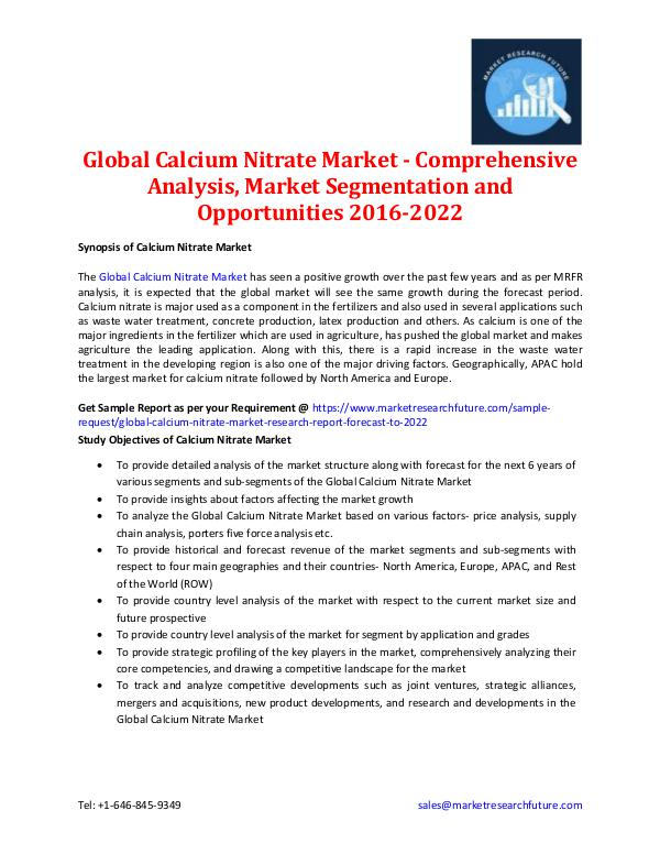 Market Research Future - Premium Research Reports Global Calcium Nitrate Market Information 2016-202
