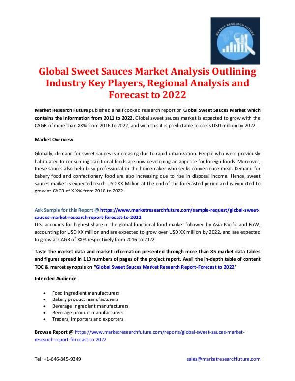 Market Research Future - Premium Research Reports Global Sweet Sauces Market - Forecast to 2022