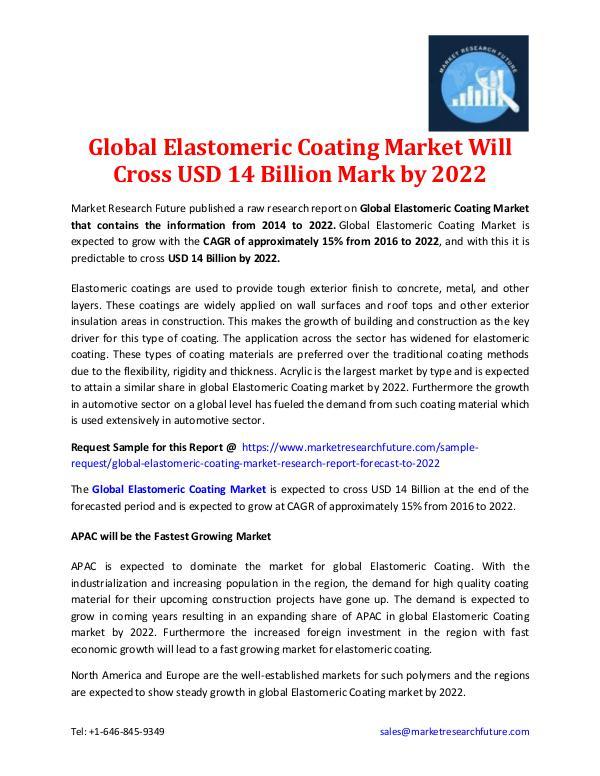 Market Research Future - Premium Research Reports Global Elastomeric Coating Market Outlook-2022