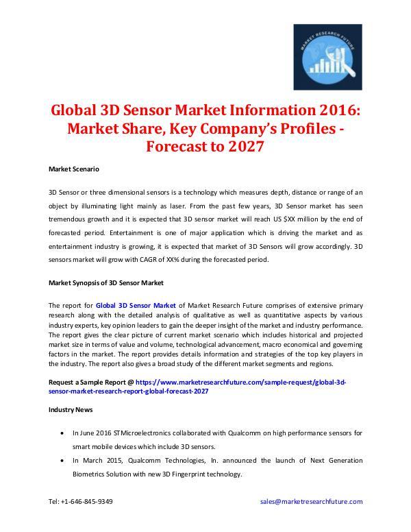Market Research Future - Premium Research Reports 3D Sensor Market Information 2016-2027
