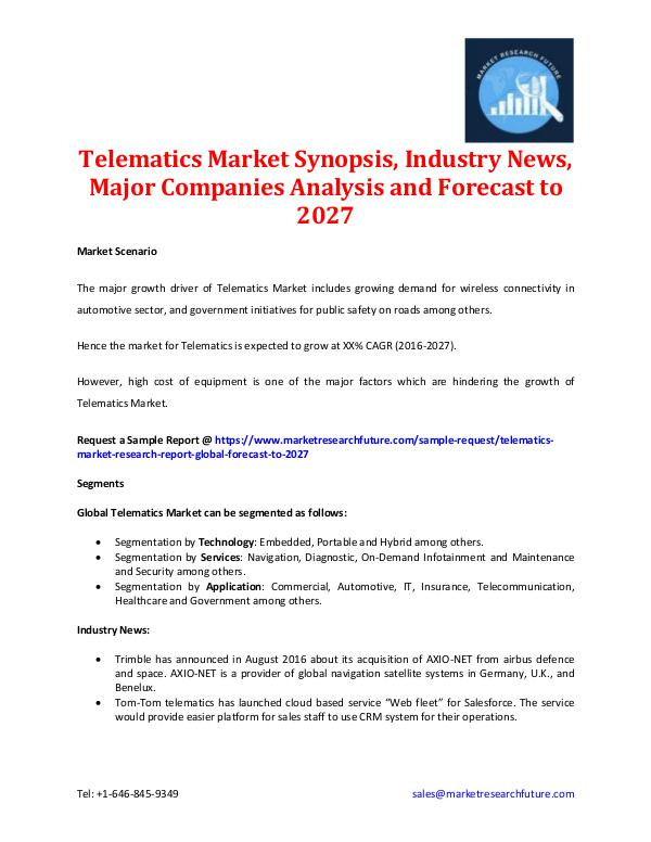 """telematics market Raipur, april 19, 2018 (globe newswire) -- report sellers has added a new market research report on """"global telematics market (2014-2022)"""" to its offerings the report is an in-depth market study providing accurate market insights including the latest trends, forecast, competitive insights, etc."""