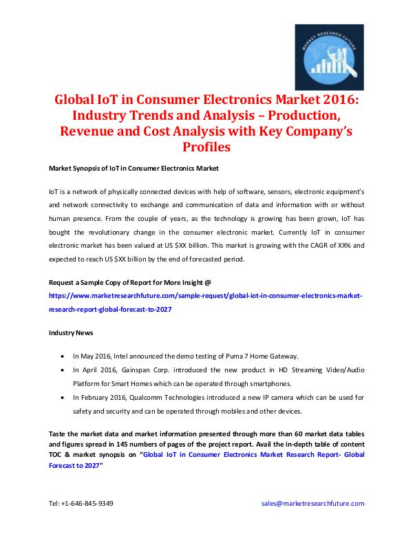 Market Research Future - Premium Research Reports Global IoT in Consumer Electronics Market 2016