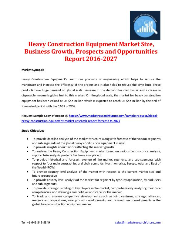 Market Research Future - Premium Research Reports Heavy Construction Equipment Market Analysis 2027