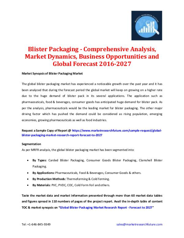 Market Research Future - Premium Research Reports Blister Packaging Market - Forecast To 2027
