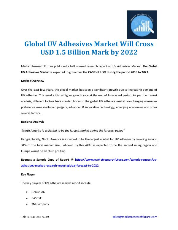 Market Research Future - Premium Research Reports UV Adhesives Market Worth $1.5 Billion by 2022