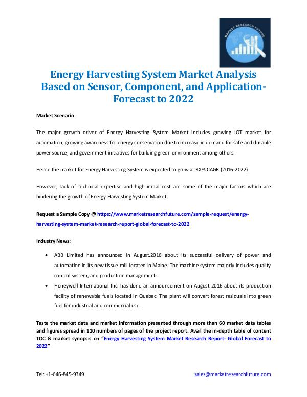 Market Research Future - Premium Research Reports Energy Harvesting System Market- Forecast to 2022