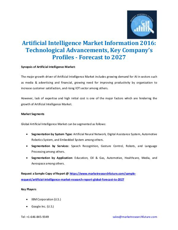 Market Research Future - Premium Research Reports Artificial Intelligence Market Information 2027