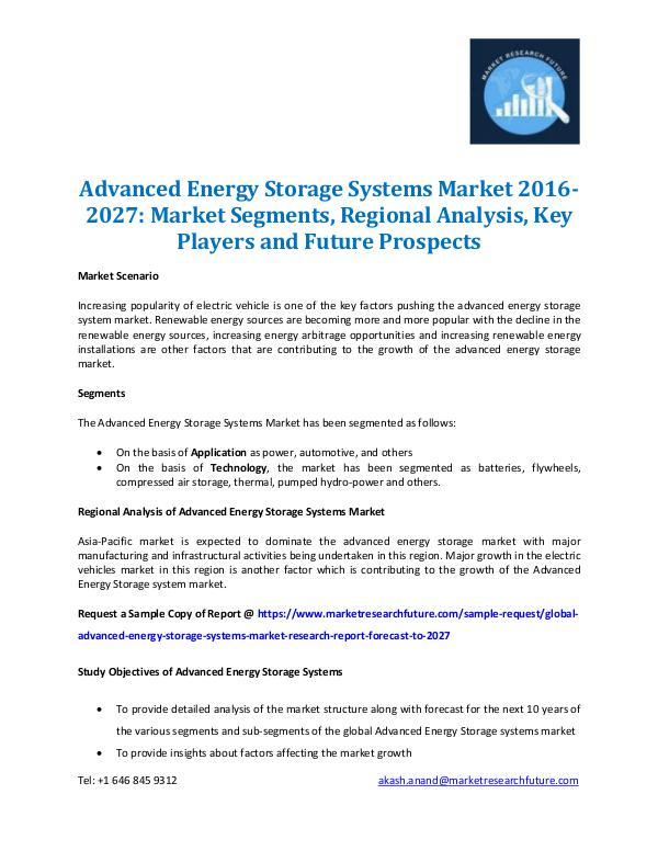 Market Research Future - Premium Research Reports Advanced Energy Storage Systems Market 2016-2027