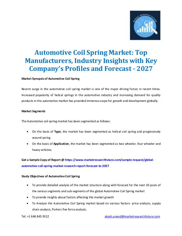 Market Research Future - Premium Research Reports Automotive Coil Spring Market Forecast 2016 2027