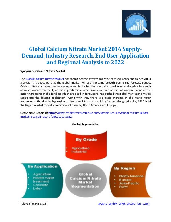 Market Research Future - Premium Research Reports Calcium Nitrate Market Forecast to 2022