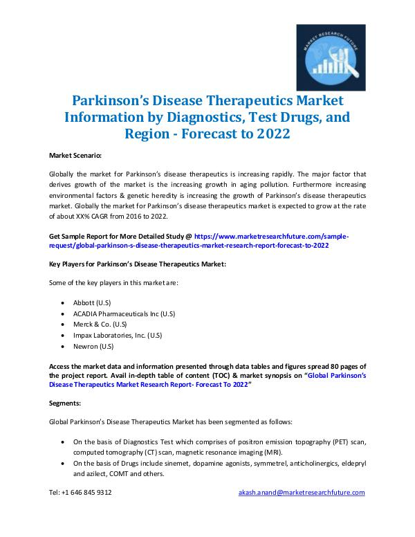 Market Research Future - Premium Research Reports Parkinson's Disease Therapeutics Market 2016-2022
