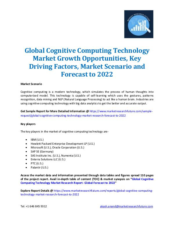 Market Research Future - Premium Research Reports Cognitive Computing Technology Market 2016-2022