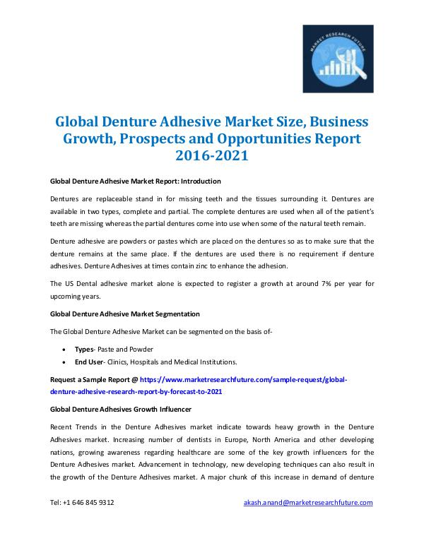 Market Research Future - Premium Research Reports Denture Adhesive Market Analysis 2016-2021