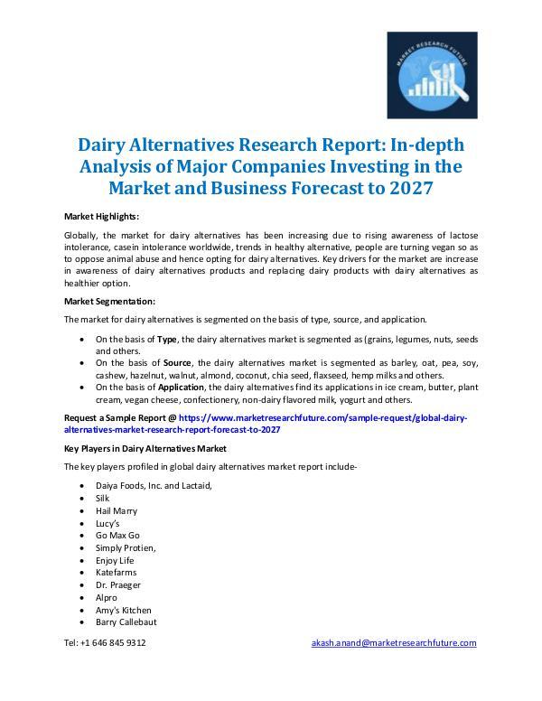 Market Research Future - Premium Research Reports Dairy Alternatives Market Research Report - 2027