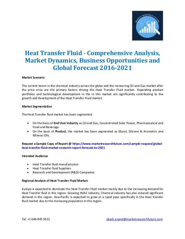 Market Research Future - Premium Research Reports Heat Transfer Fluid Market Analysis 2016-2021