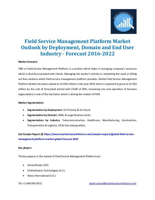 Market Research Future - Premium Research Reports Field Service Management Platform Market 2016-2022
