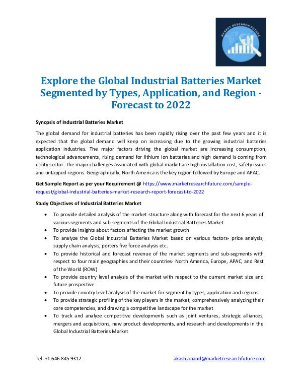Market Research Future - Premium Research Reports Industrial Batteries Market Information 2022