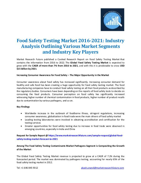 Market Research Future - Premium Research Reports Food Safety Testing Market Report 2021