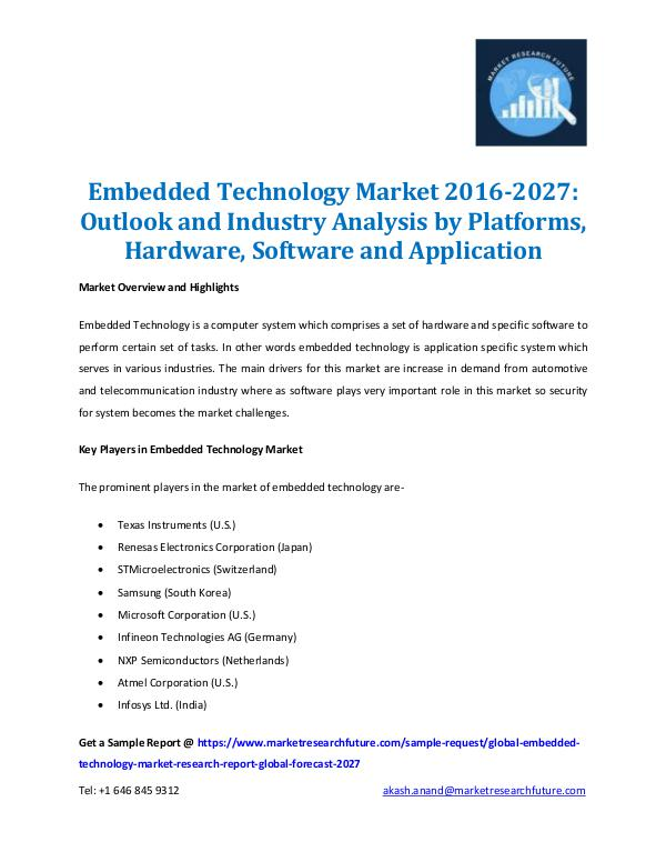 Market Research Future - Premium Research Reports Embedded Technology Market Report 2027