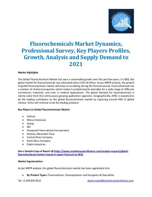 Market Research Future - Premium Research Reports Fluorochemicals Market Report 2021