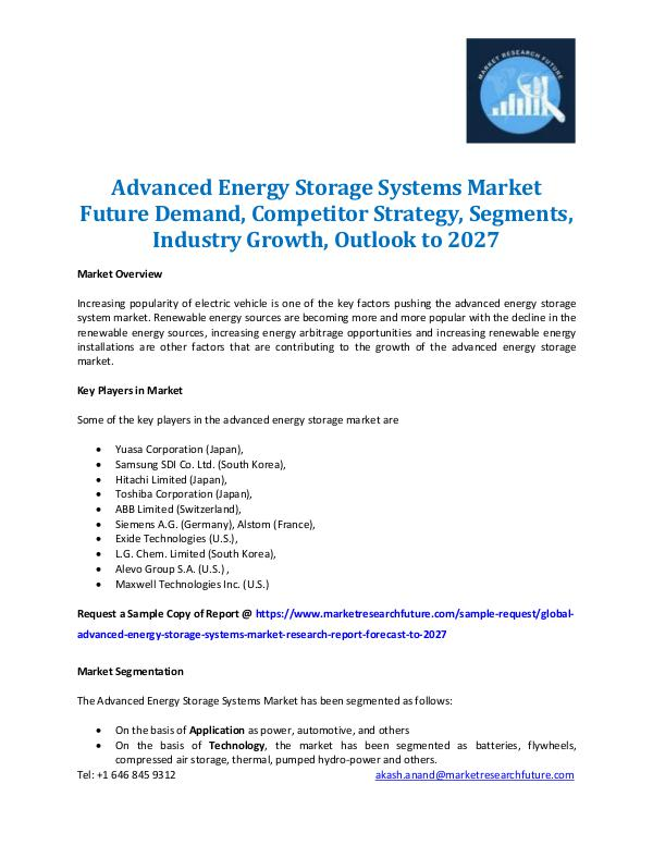 Market Research Future - Premium Research Reports Advanced Energy Storage Systems Market 2027