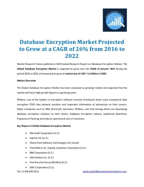 Market Research Future - Premium Research Reports Database Encryption Market Report 2022