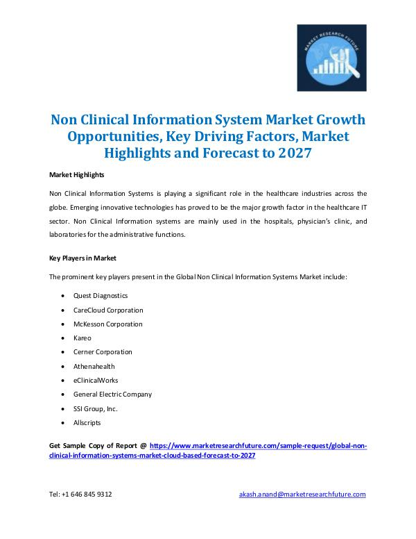 Market Research Future - Premium Research Reports Non Clinical Information System Market Report-2027