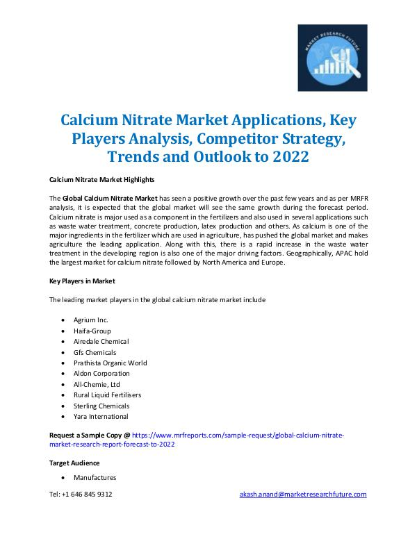 Market Research Future - Premium Research Reports Calcium Nitrate Market Applications 2022