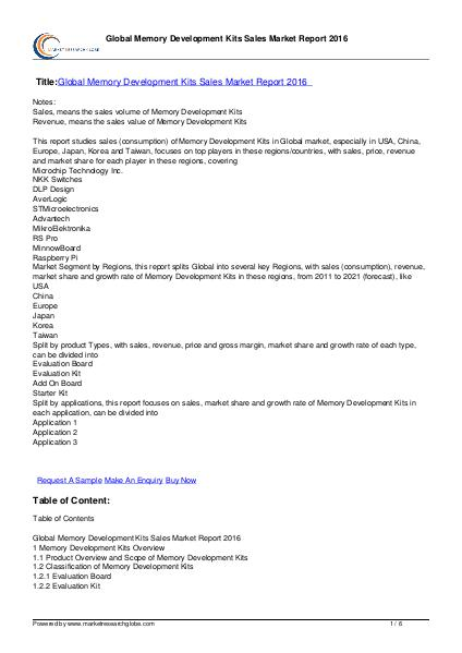 Global Memory Development Kits Sales Market Report