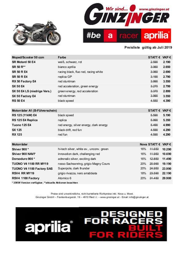 Alle Preislisten : Aprilia   Yamaha   Suzuki   Kawasaki   SYM   ... Aprilia Preisliste 2019