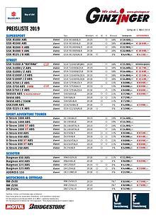 Alle Preislisten : Aprilia | Yamaha | Suzuki | Kawasaki | SYM | ...