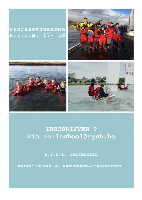 Brochures R.Y.C.B. zeilschool & Training - 2018 Wintertraining 2017 - 2018