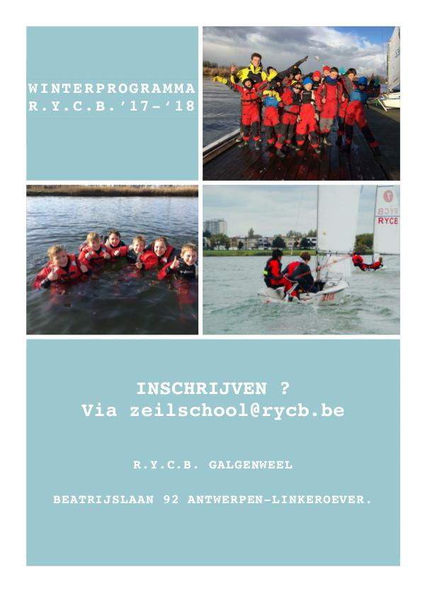 Brochures R.Y.C.B. zeilschool & Training - 2018 Wintertraining 2017 - 2018