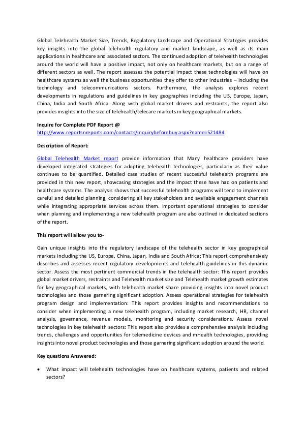 Global Telehealth Market Analysis 2017 March