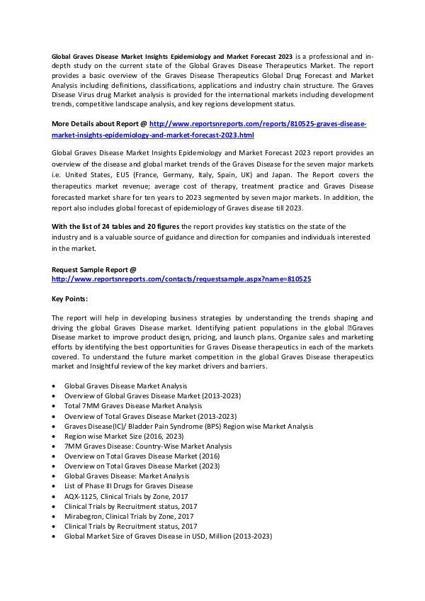 Graves Disease Market  Epidemiology and Therapeutics Market to 2023 Global Graves Disease Market Insights Epidemiology