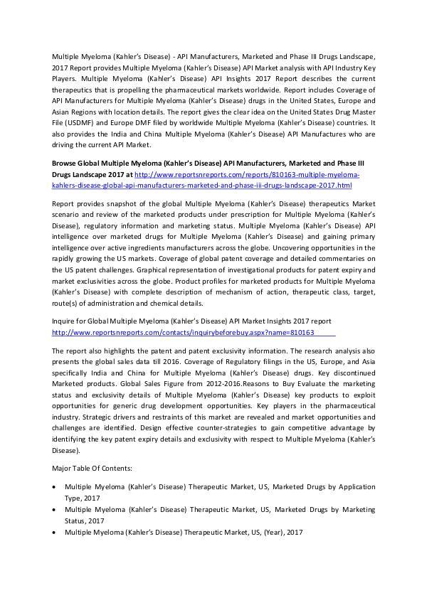 Multiple Myeloma (Kahler's Disease) - API Manufacturers Inudstry 2017 Multiple Myeloma (Kahler's Disease)-Global API Man