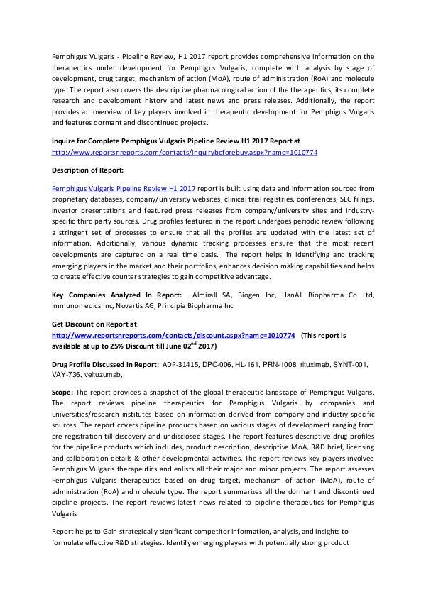 Pemphigus Vulgaris Pipeline - Therapeutics Review H1 2017 Pemphigus Vulgaris - Pipeline Review H1 2017