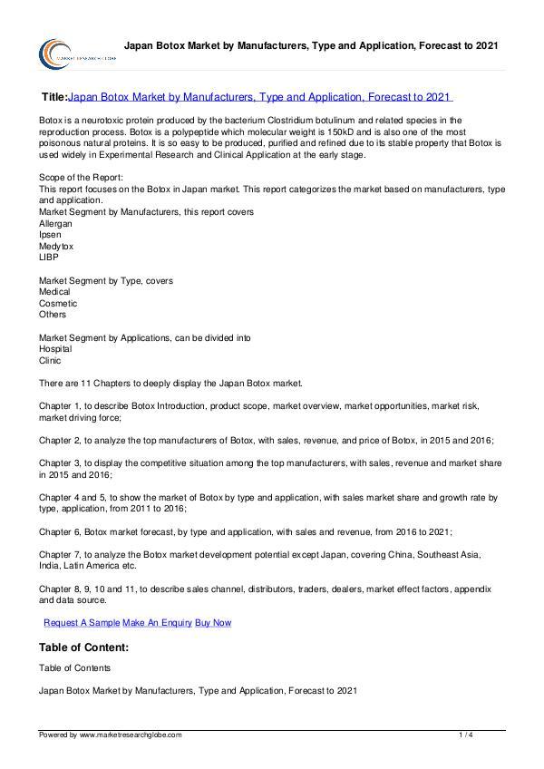 Learn Details Of Japan Botox Market Forecast 2021