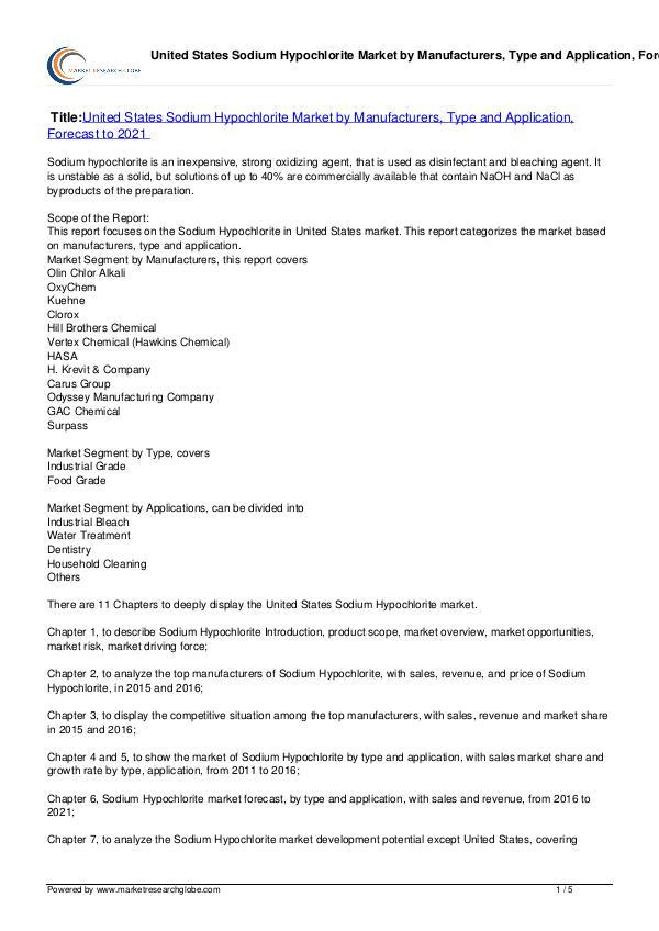 United States Sodium Hypochlorite Market 2021