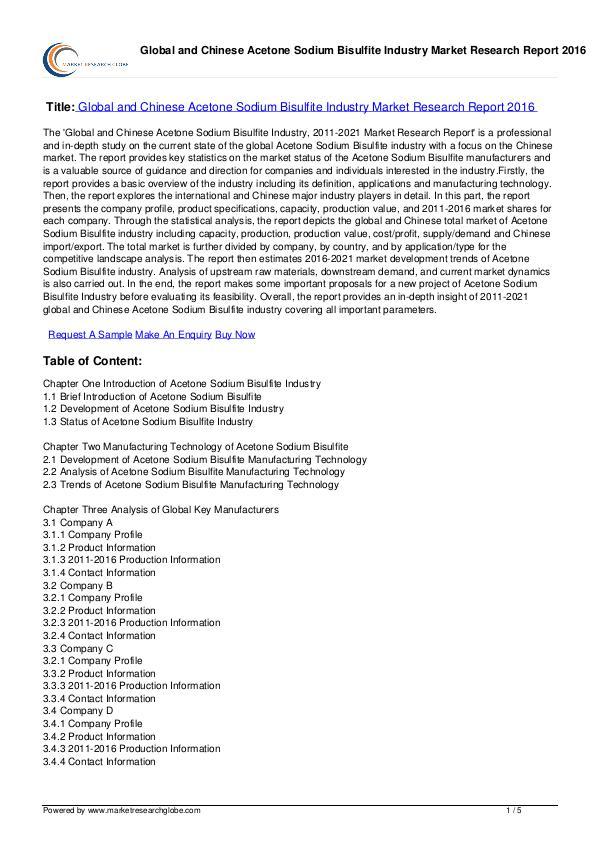Acetone Sodium Bisulfite Industry Market 2016