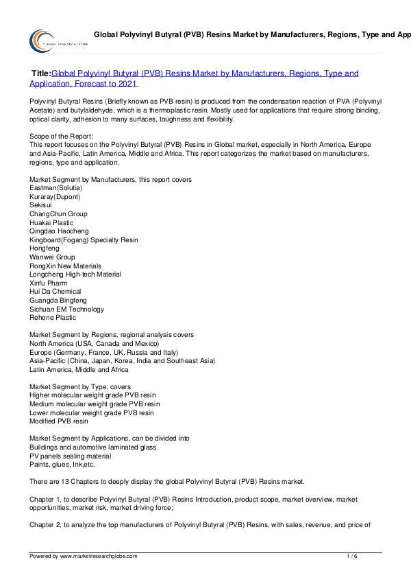 Polyvinyl Butyral (PVB) Resins Market 2021