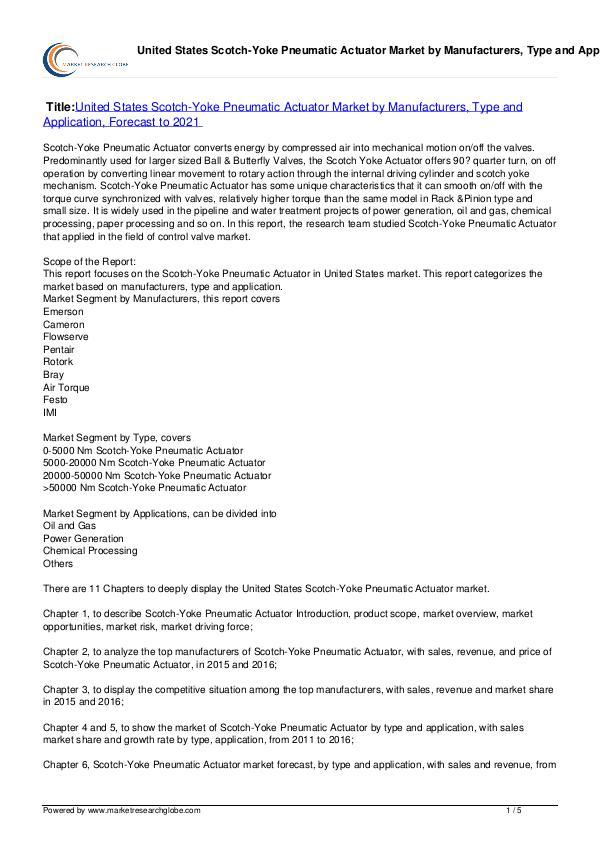 Scotch-Yoke Pneumatic Actuator Market 2021